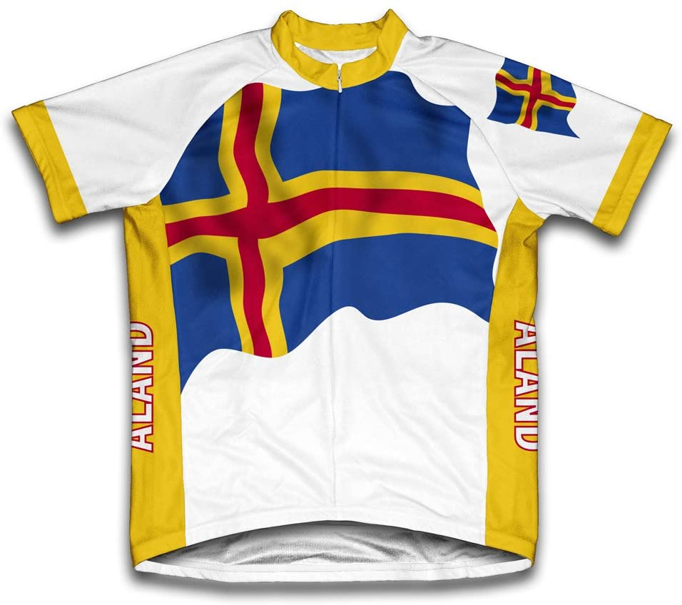 ScudoPro Aland Islands Flag Short Sleeve Cycling Jersey for Men