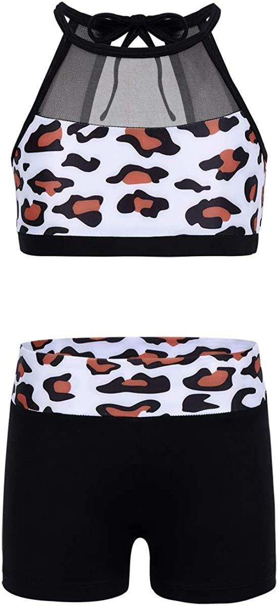 easyforever Kids Girls Ballet Dance Gymnastic Workout Sleeveless Halter Leopard Printed Tank Top with Bottoms Set