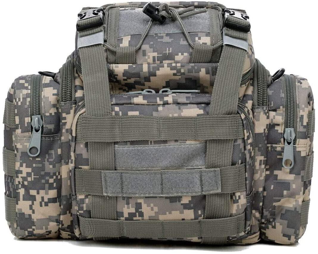 LELEXI : Sea/Carp/Fly Fishing Tackle Bag Waterproof Storage Waist Shoulder Carry Case ACU Camouflage