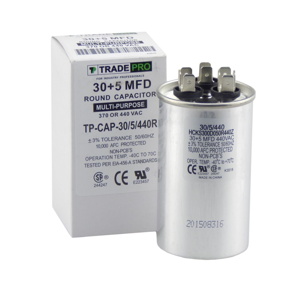 TradePro 30/5 MFD 440 or 370 Volt Round Run Capacitor Replacement