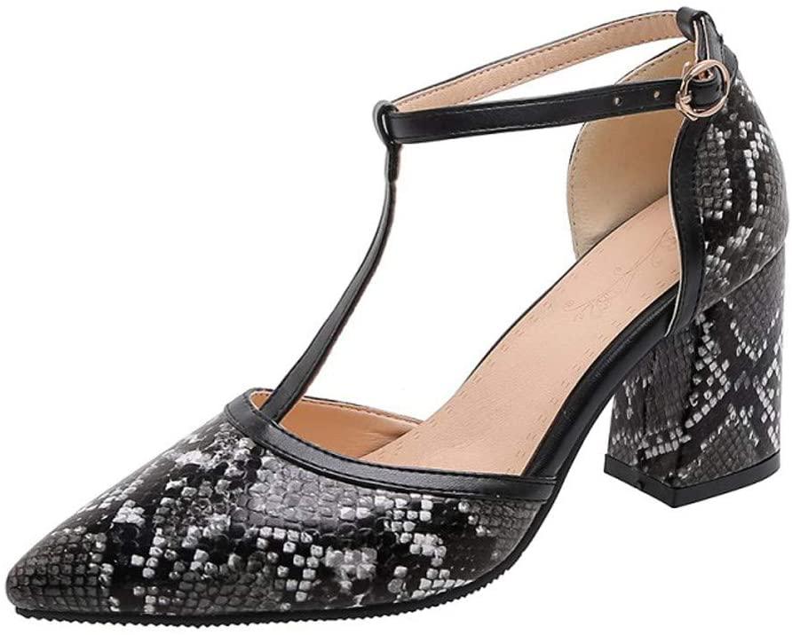 Hattfart Women Leopard Printed Sandals Low Heel Ankle Straps Buckle Fashion Sandals Shoes