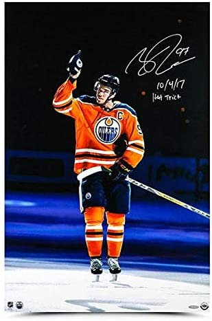 Connor McDavid Autographed & Inscribed 'Opening Night Hat Trick' 20X30 Photo - Autographed NHL Hats
