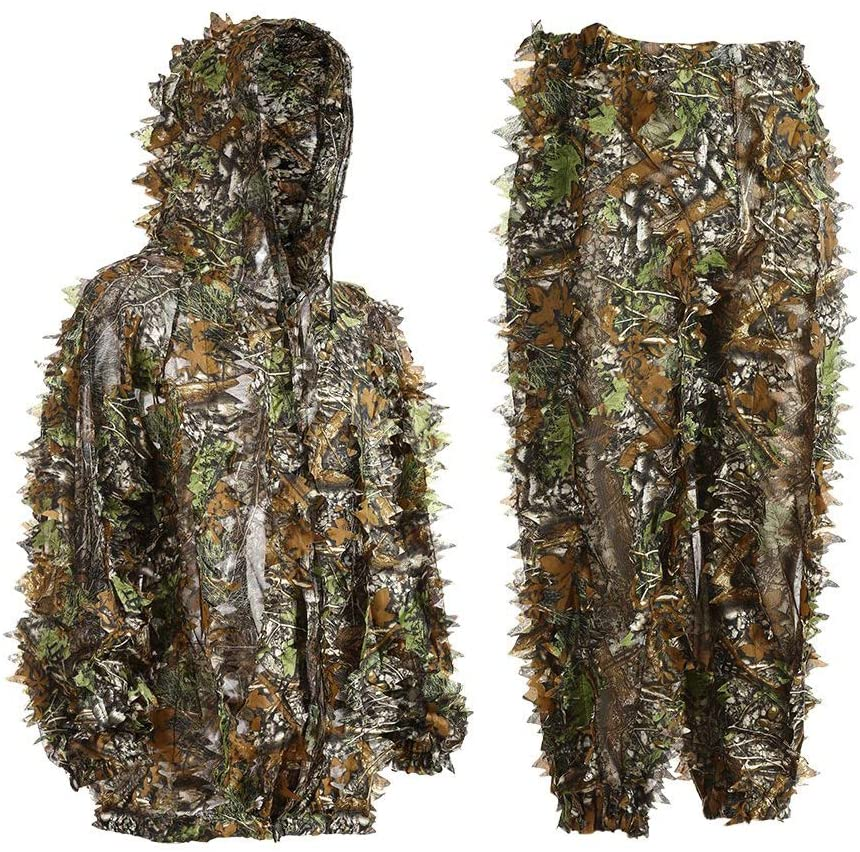 Luixxuer 3D Leafy Ghillie Suit Camouflage Sniper, Tactical Airsoft Breathable Clothes Bionic Ghillie Suit Camouflage Lightweight Clothes Shooting Wildlife Photography