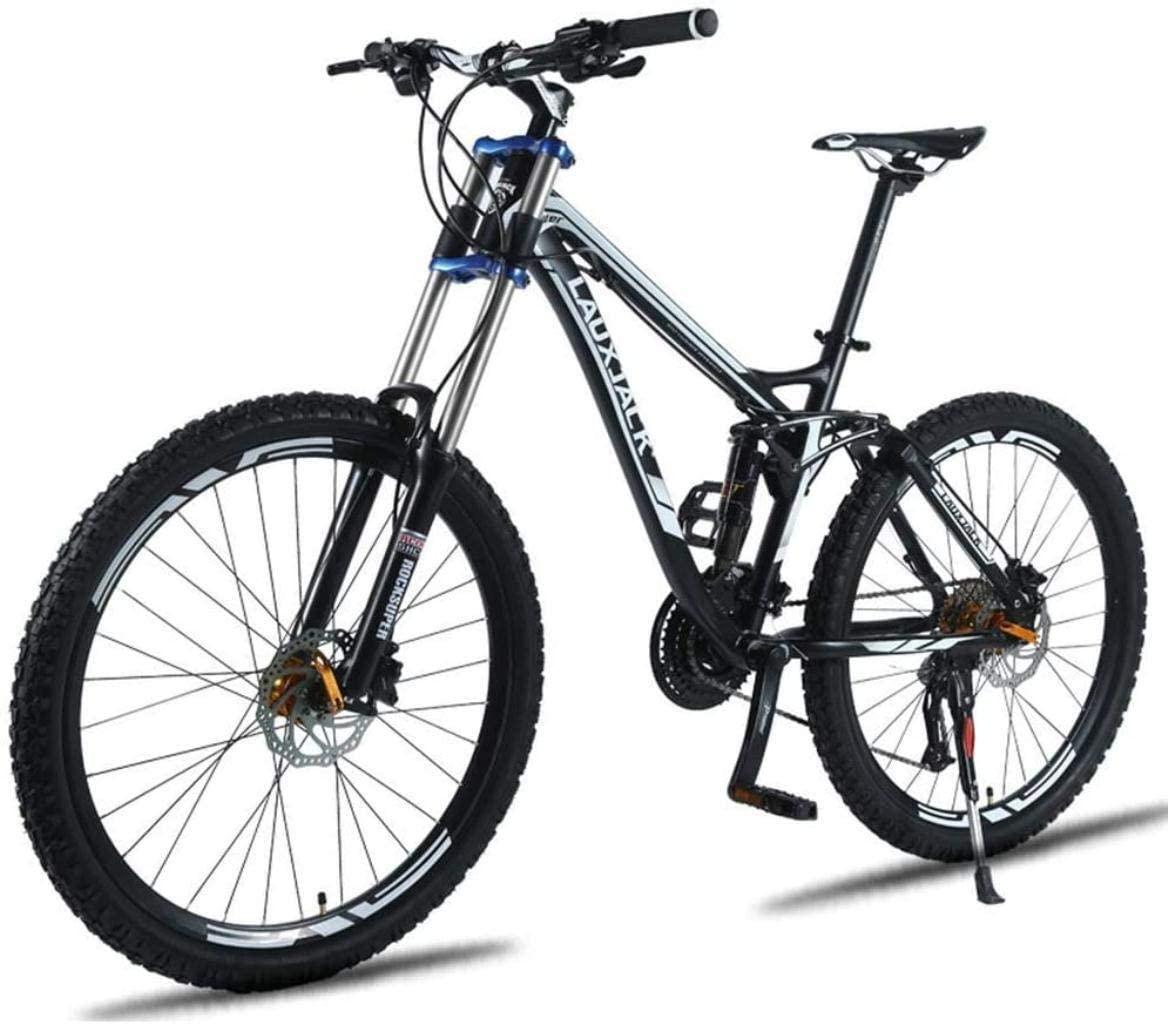 MJY 24 Disc Brake / 27 Oil Brake Speed Down Mountain Bike, Off-Road Variable Speed Soft Tail Bicycle, Double Oil Disc Brake, Shock Absorption 7-10,Black