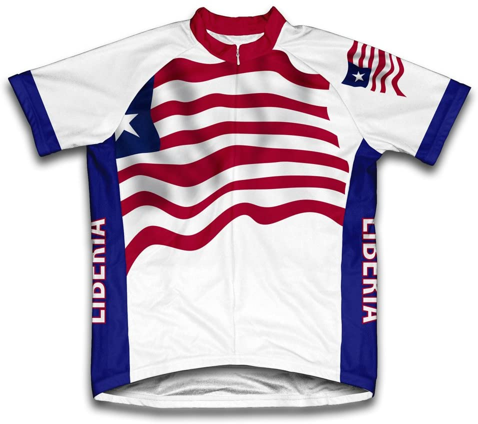 ScudoPro Liberia Flag Short Sleeve Cycling Jersey for Men
