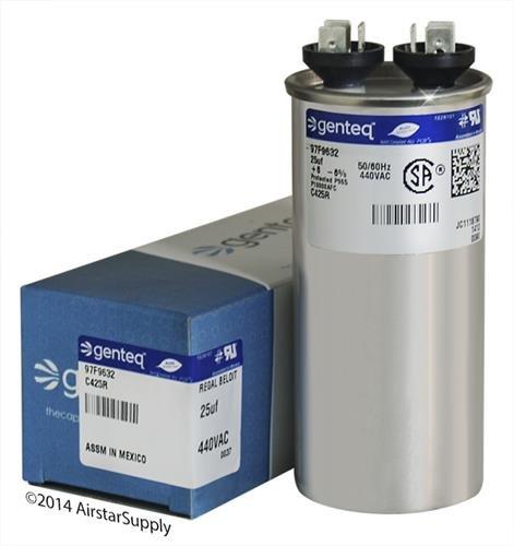 TRANE CPT00467 / CPT-0467 • 25 uF MFD x 440 VAC Genteq Replacement Capacitor Round # C425R / 97F9632