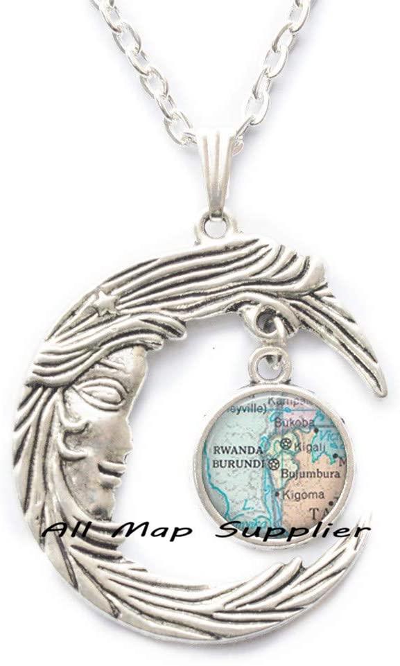 AllMapsupplier Fashion Necklace,Burundi,Rwanda map Pendant,Burundi map Pendant Rwanda map Necklace Burundi map Necklace Rwanda Pendant Adoption Jewelry,A0106