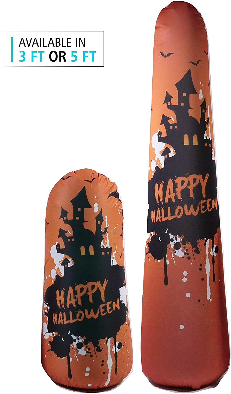 BONK FIT High Performance Polyurethane Kids Inflatable Punching Bag Bop Toy PVC-Free with Machine Washable Designer Cover - Haunted House, 5ft
