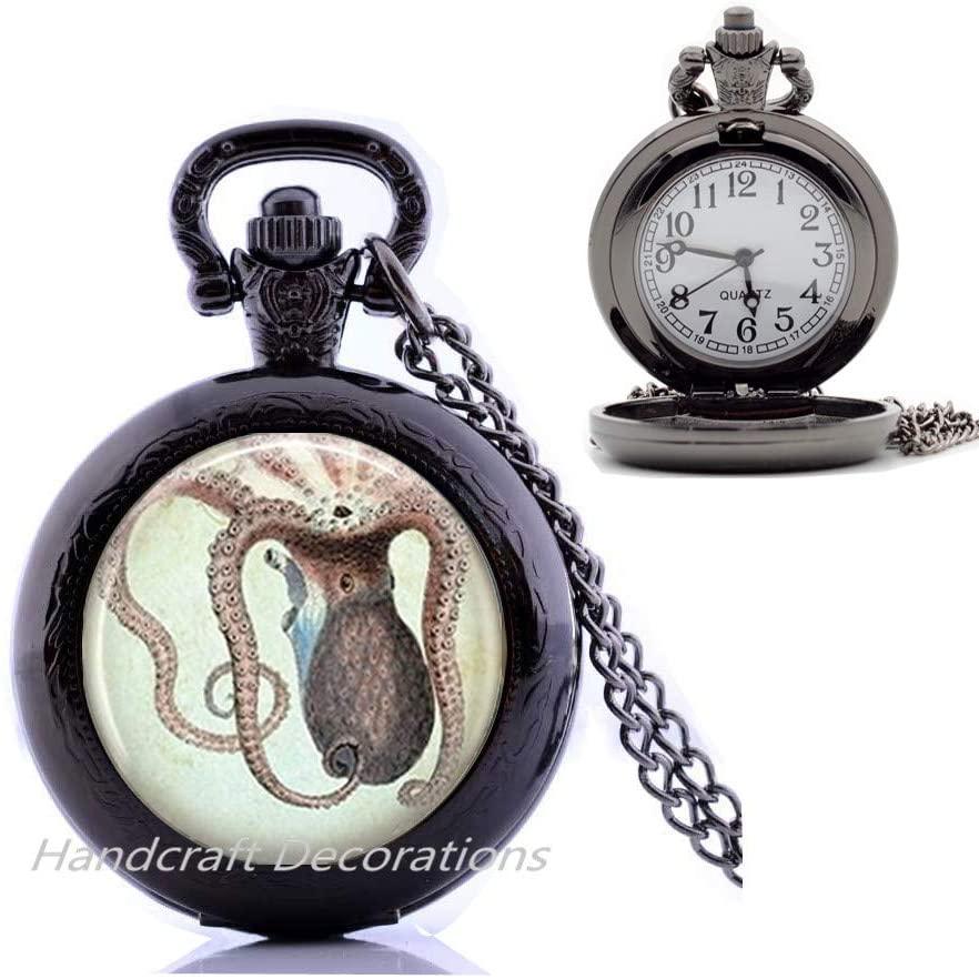HandcraftDecorations Octopus Pocket Watch Necklace,Nautical Jewelry,Marine Life,Ocean Art Pendant.F128
