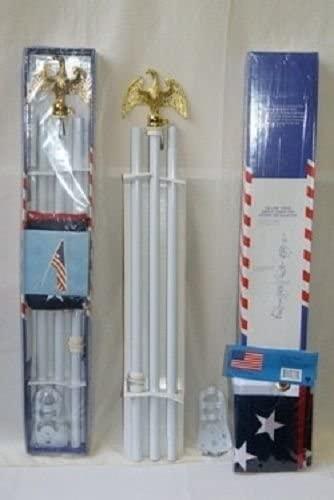 AES 6' FEET Flag Pole Eagle Top 6ft White Pole Kit Diam 3/4 Eagle steel bracket USA Flag