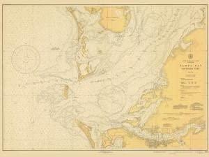 Historical Nautical Chart 586-6-1942: FL, Tampa Bay Southern Part Year 1942