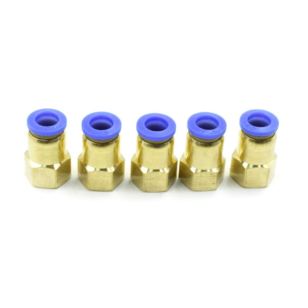 HONJIE 1/4PT Female Thread to 8mm Pipe Pneumatic Air Quick Coupler Joint-5pcs