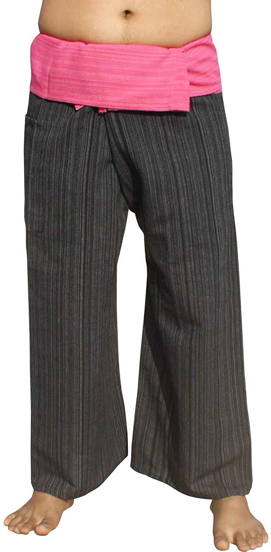 RaanPahMuang Light Striped Cotton Two Tone Thailand Fisherman Tall Length Pants