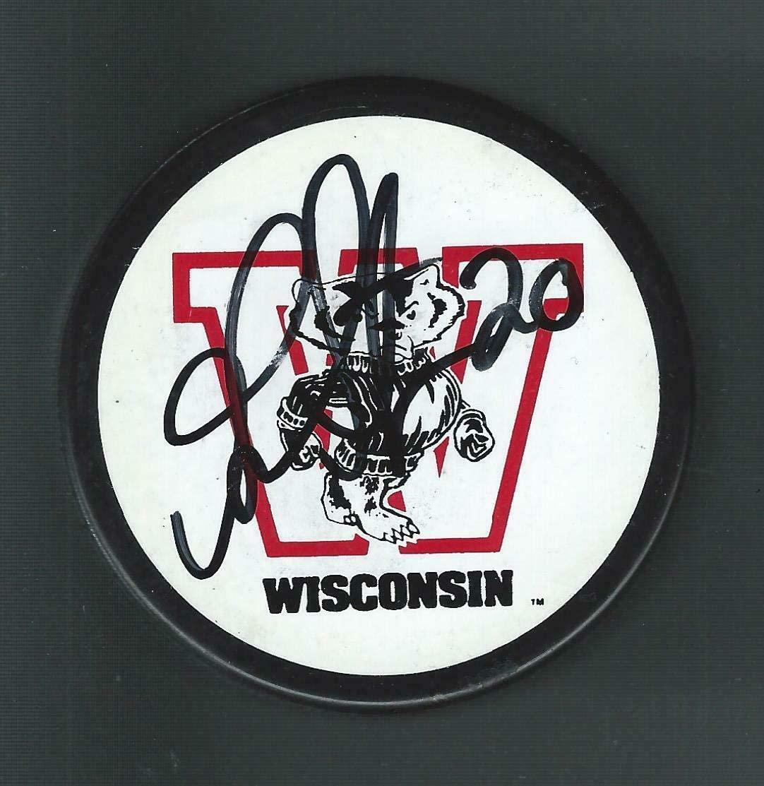 Gary Suter Autographed Puck - Wisconsin Badgers Souvenir - Autographed NHL Pucks