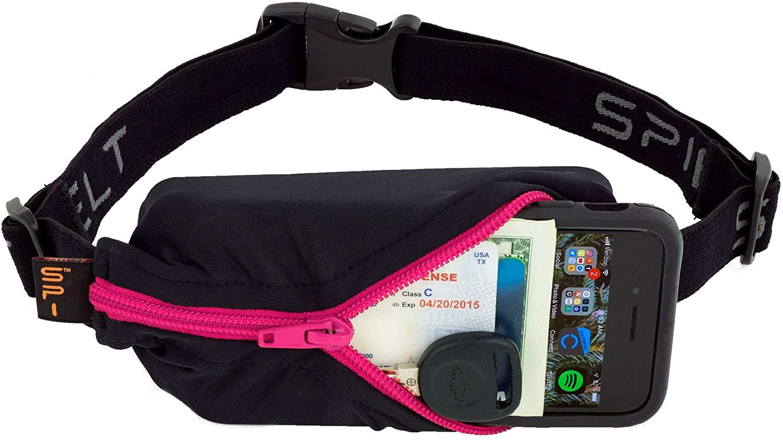 SPIbelt Running Belt Original Pocket, No-Bounce Waist Bag for Runners, Athletes Men and Women, fits Smartphones iPhone 6 7 8 X, Workout Fanny Pack, Expandable Sport Pouch, Adjustable, Hot Pink Zipper