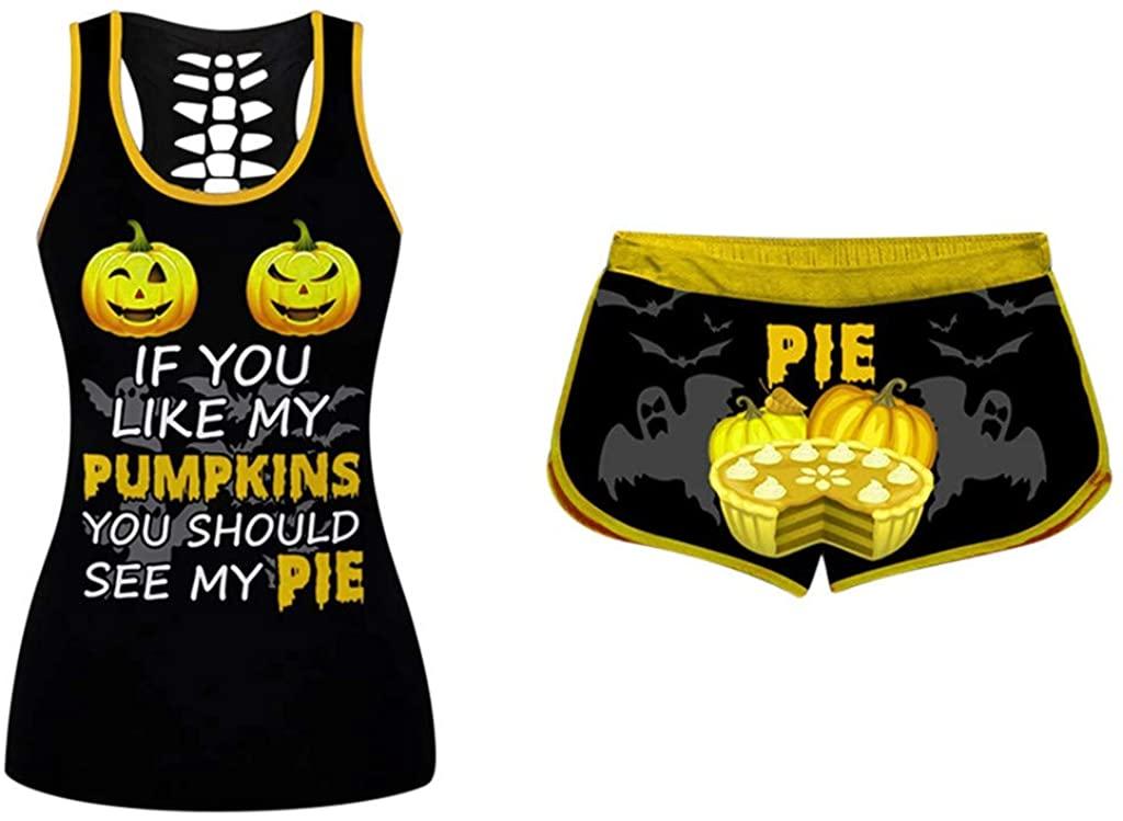 Women Pumpkin Letter Print Sleeveless Shirts Tops Sports Vest Set Halloween Drawstring Shorts Set-If You Like My Pumpkin Pie
