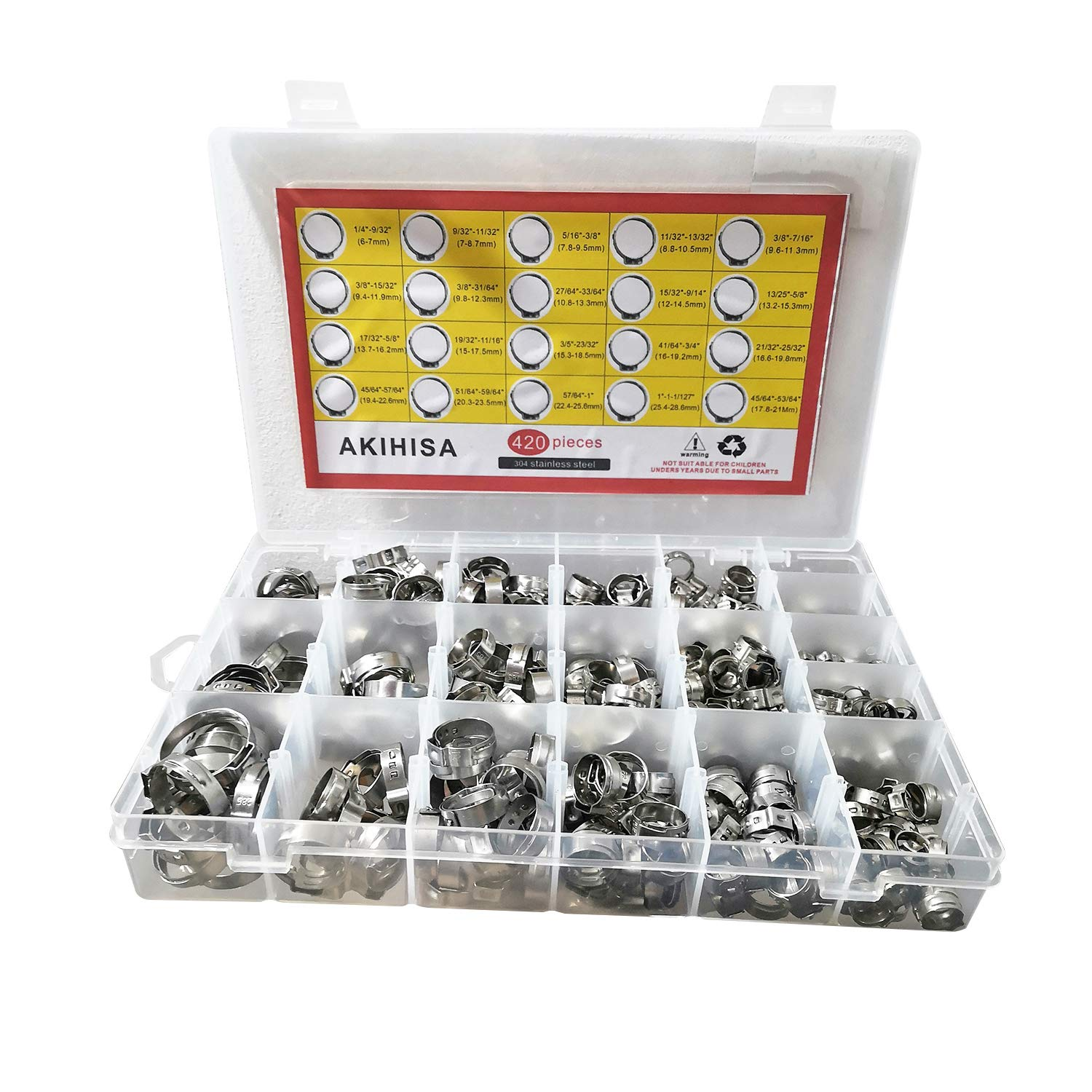 AKIHISA 420 Pack 304 Stainless Steel Single Ear Hose Clamp Assortment Kit,Crimp Pinch Fitting,Fuel Line Hose Clips Water Pipe Air Tube Silicone Vacuum Hose Clamp Fastener (Single Ear Hose Clamp kit)