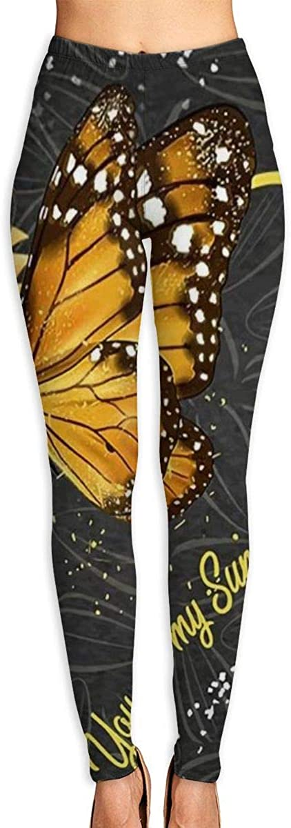 Girl Yoga Pants Leggings Butterfly On Flower Running Workout Over The Heel Long Trousers Sports Gym