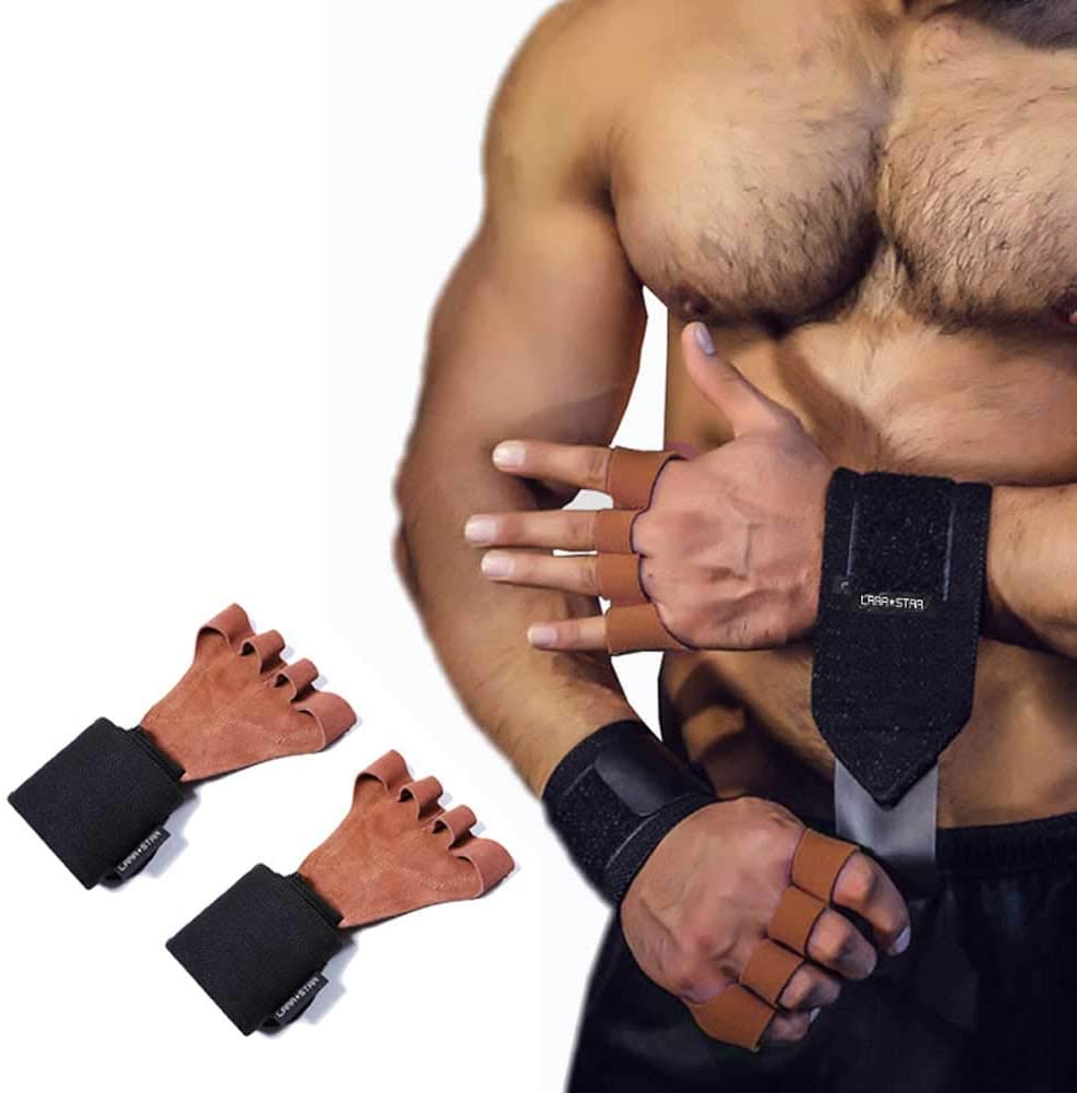 LARA STAR Leather Cross Training Gloves with Wrist Wraps, Full Palm Protection. Comfortable Grips for Pull Ups, Weight Lifting, Fitness,Gymanstics, WODs & Weightlifting. Suits Men & Women