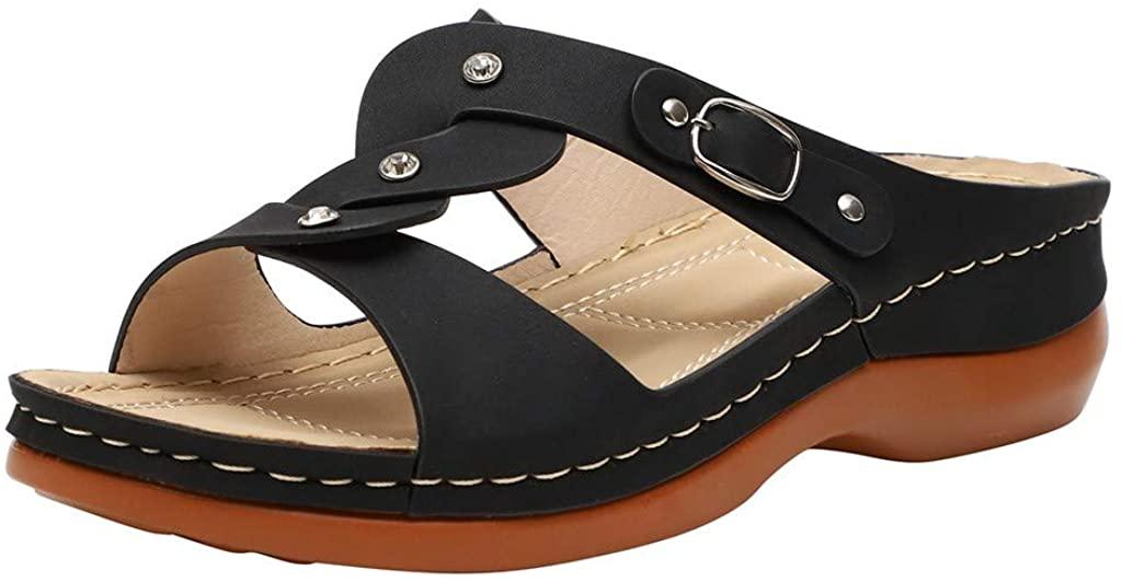 Women Summer Slides Open Toe Slip on Shoes Breathable Sandals Fashion Shoes Home Flat Sandal