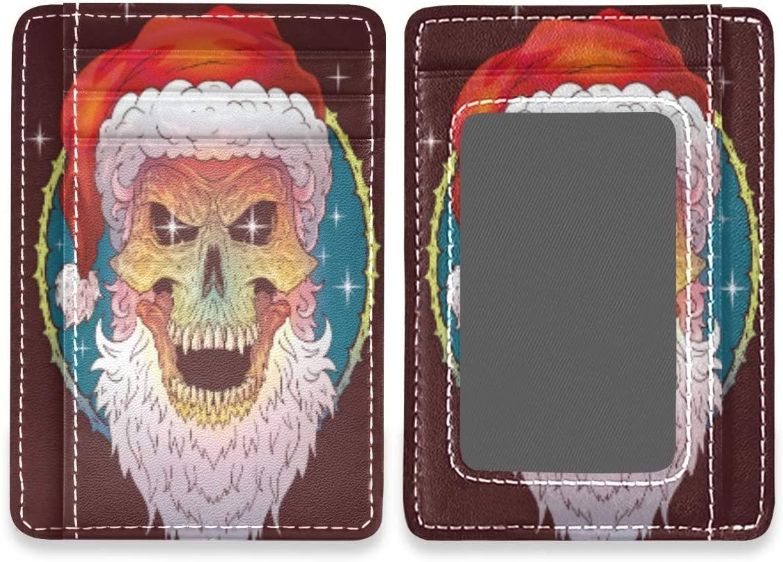 Retro Christmas Skull Cool RFID Credit Card Holders Wallet Womens Mens Buissnes Card Case Organizer
