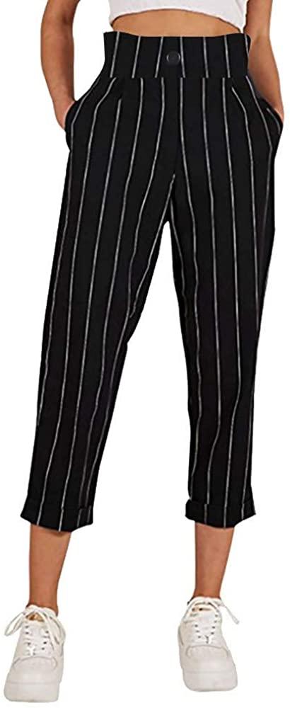 Adeliber Women High Waist Harem Pants Women Bowtie Elastic Waist Striped Casual Pants