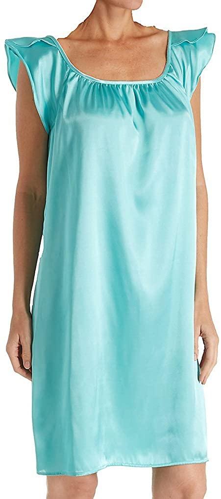 Amanda Rich Women's Satin Knee Length Gown with Flutter Sleeve 209C-40