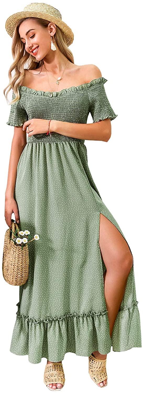 Miessial Womens Polka Dot Off Shoulder Long Dress Cute Summer Split Maxi Dress