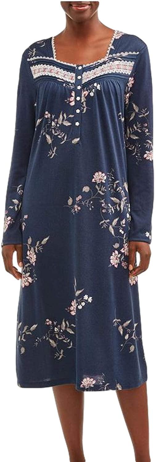 Secret Treasures Blue Cove Floral Print Long Sleeve Gown Nightgown