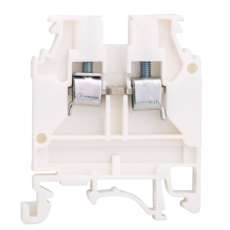 Elmex White KUT 4N DIN Rail Terminal Block Screw Type UL 600V 30A 20-10AWG, Pack of 50