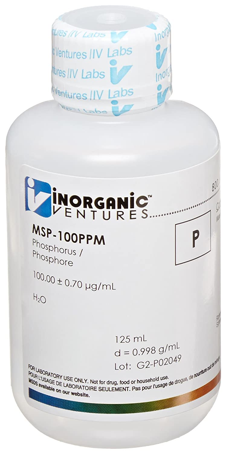 Inorganic Ventures MSP-100PPM 100ppm Phosphorus (P) Single Element Standard for ICP-MS, 125ml Volume
