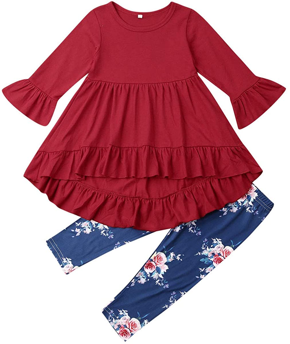 2Pcs Kids Toddler Baby Girl Long Sleeve T-Shirt Tops+Floral Pants Outfit Set Fall Clothes (Wine Red+Floral, 5-6T)