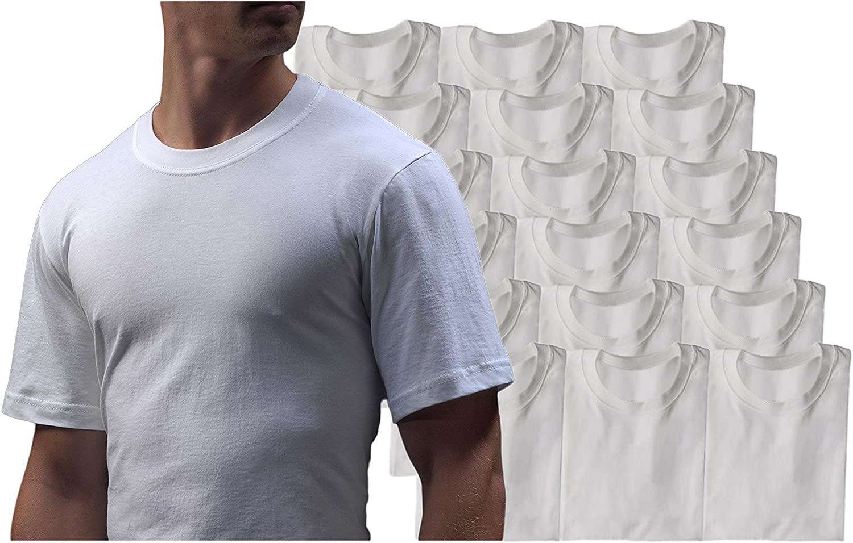 A Scott Basics Mens 18 Pack Travel Cotton Crew Neck Shortsleeve T-Shirt