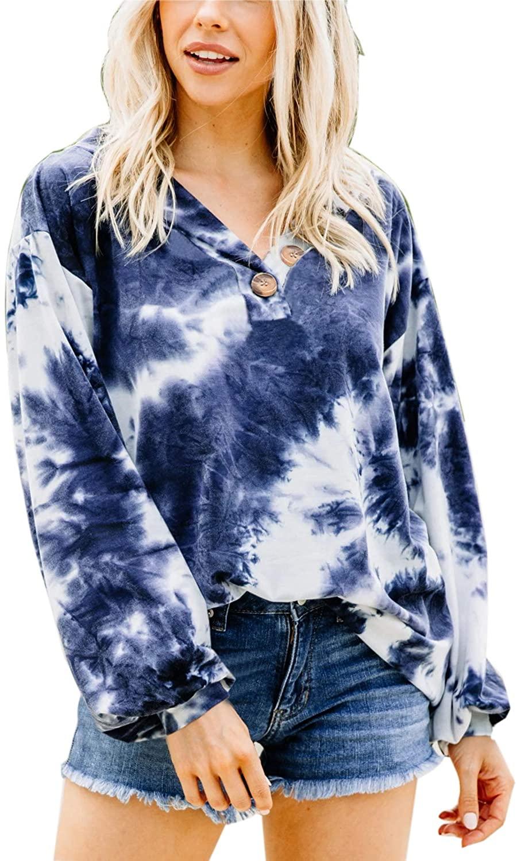 BOOSOULY Women's Tie Dye Button Down Sweatshirts Casual Loose V Neck Tops