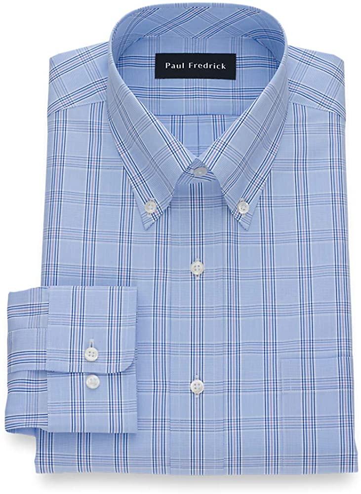 Paul Fredrick Men's Slim Fit Pure Cotton Check Dress Shirt