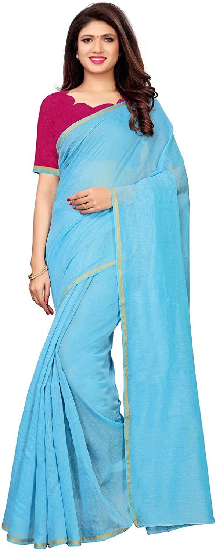 Indian Decor & Attire Banarasi Cotton with Blouse Piece Saree (1100S2042_ Blue_ One Size)