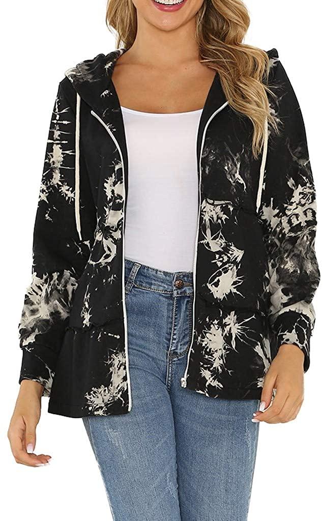 TWGONE Tie Dye Hoodie Women Zip Up Ruffled Long Sleeve Hooded Jacket Printed Coat