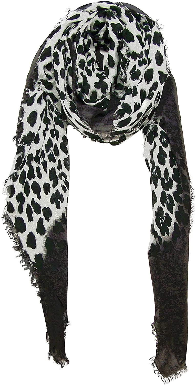 Blue Pacific Animal Print Cashmere and Silk Scarf in Black and Snow