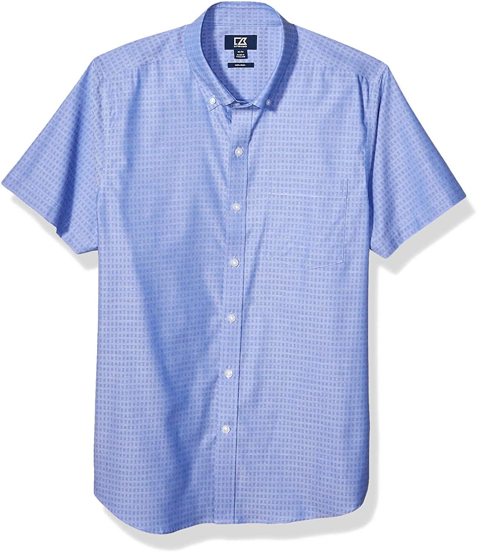 Cutter & Buck Men's Short Sleeve Strive Three Bars Jacquard Button Up Shirt