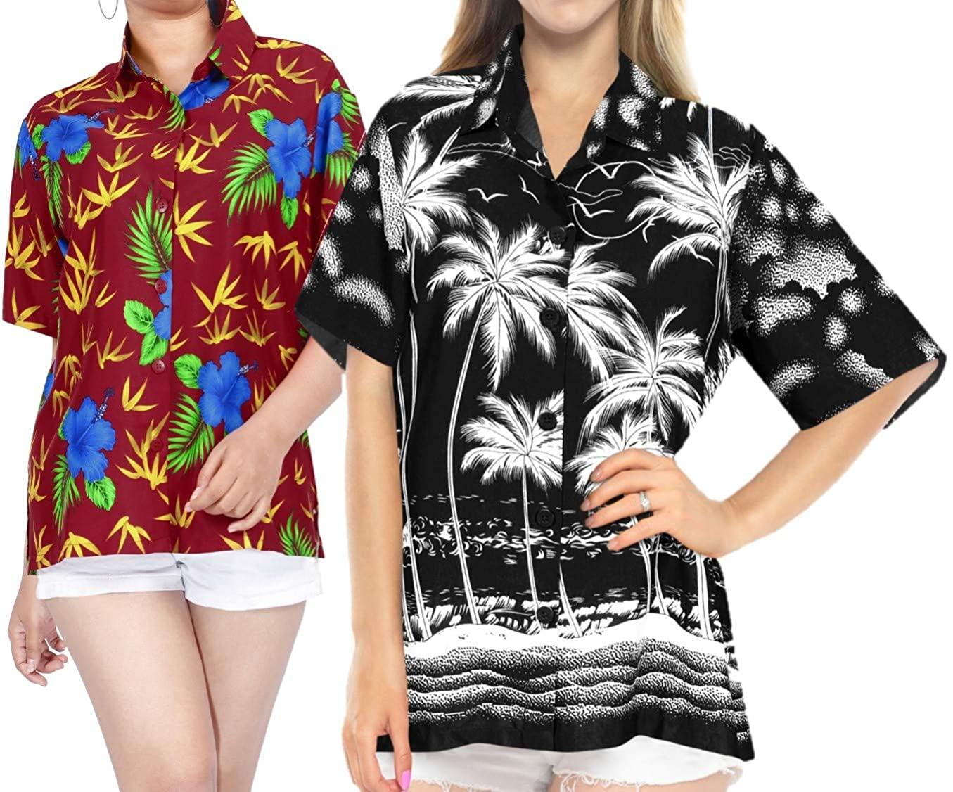LA LEELA Women's Swim Hawaiian Regular Fit Short Sleeve Tunic Shirt Work from Home Clothes Women Beach Shirt Blouse Shirt Combo Pack of 2 Size M