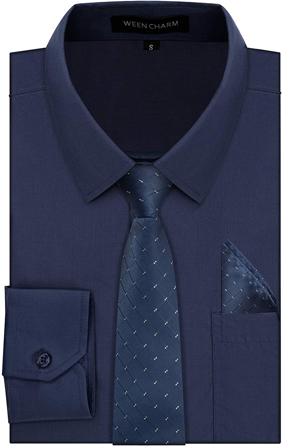 WEEN CHARM Mens Dress Shirts Regular Fit Button Down Tuxedo Shirts with Matching Tie and Handkerchief