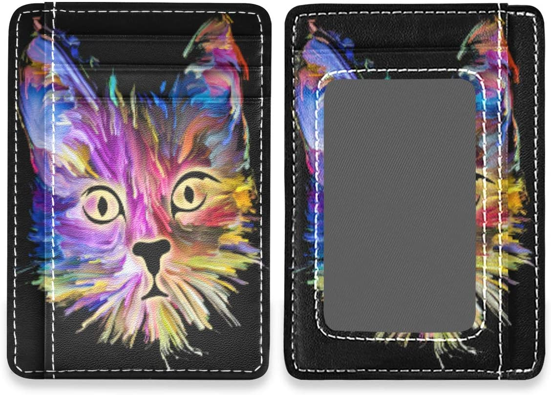 Cute Kitty Painting Womens Mens RFID Credit Card Holders Wallet Leather Case Organizer