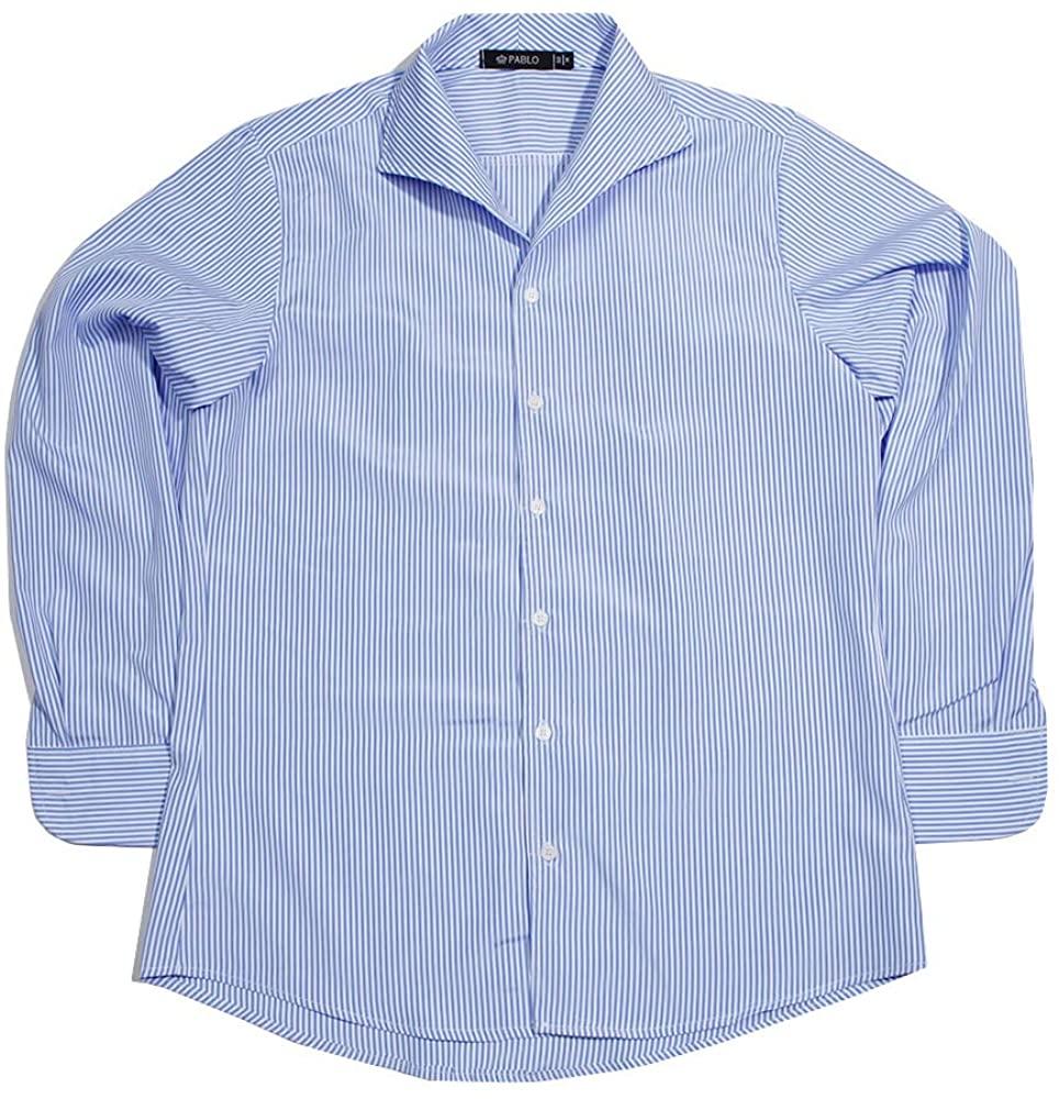Pablo Men's Italian Collar Stripe Dress Shirts