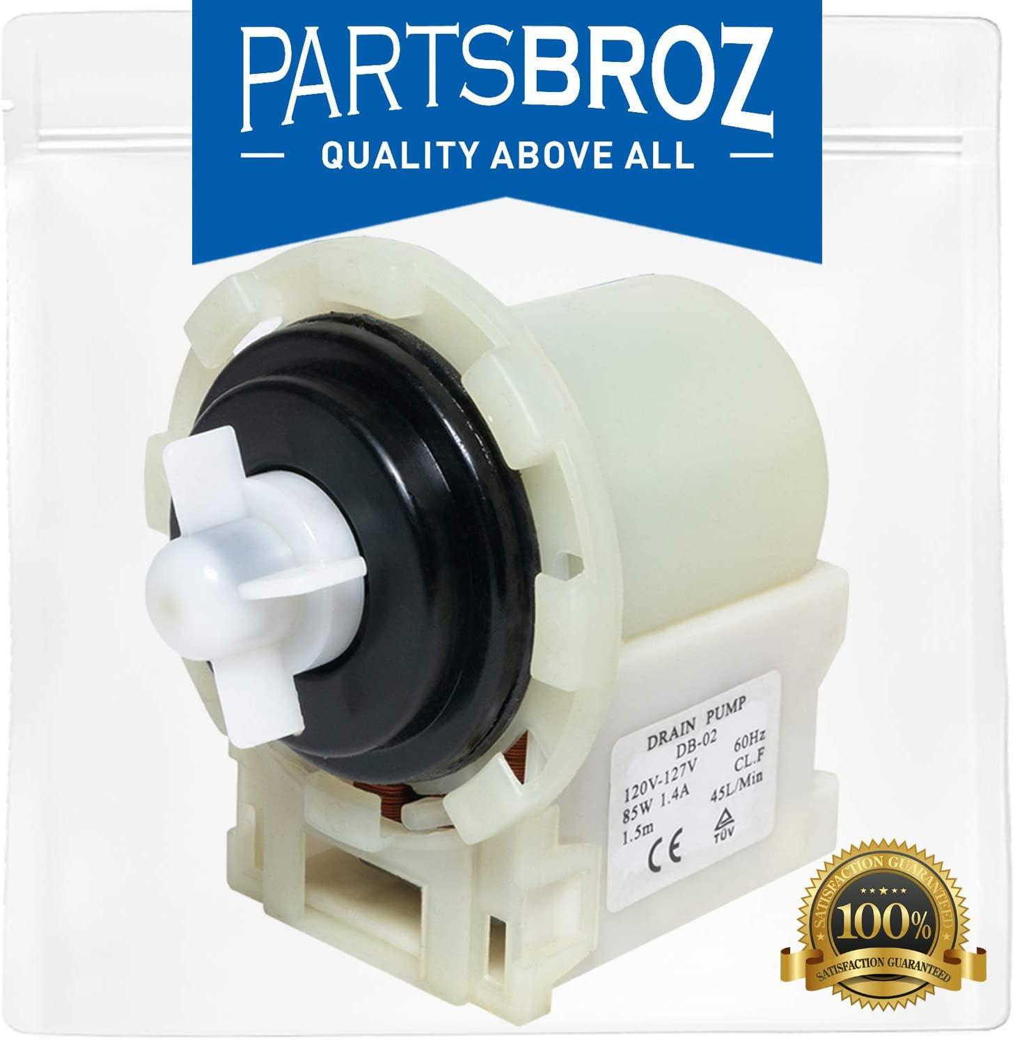 8540024 Water Pump for Whirlpool Washing Machines by PartsBroz - Replaces WPW10730972, AP6023956, W10130913, W10730972, 8540025, 8540027, 8540028, 8540996, PS11757304, W10117829, W10183434, W10190647
