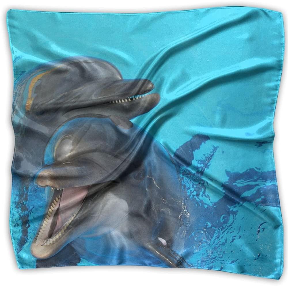 Dolphin Animal Printed Square Scarf Scarve Head Wrap Shawl