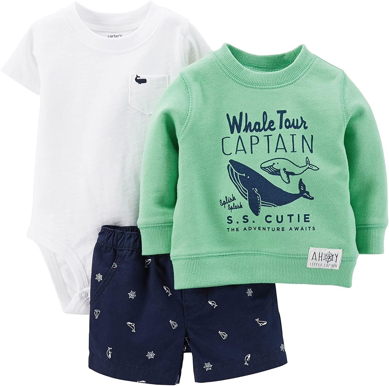 Carter's Baby Boys' 3 Piece Short Set - Whale Tour Captain