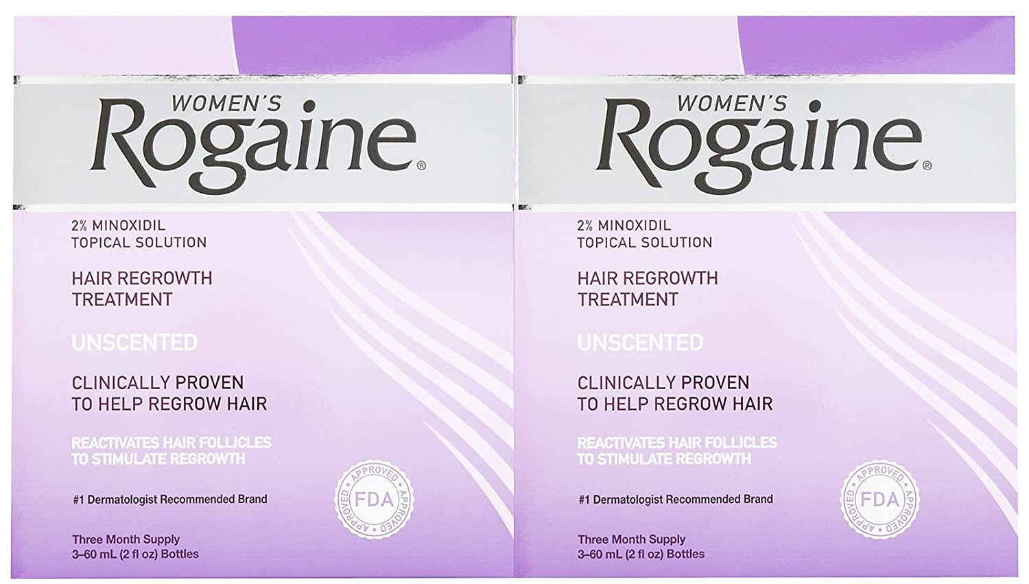 Women's Rogaine Hair Regrowth Treatment Solution, 3 Month Supply, 2 pk
