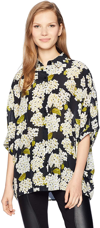 The Kooples Women's Women's Button Down Hydrangea Print Top with Collar