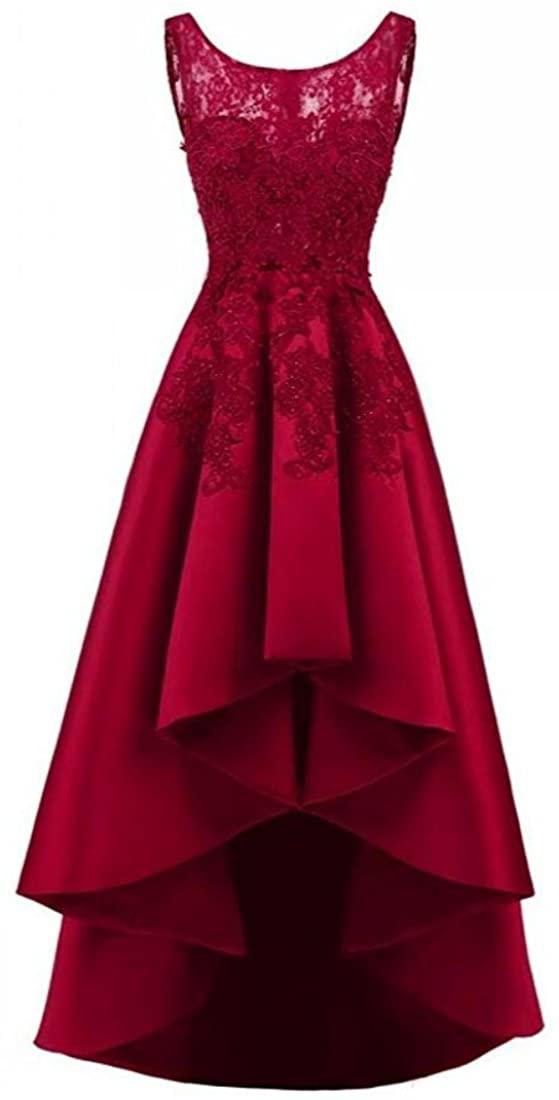 Women's Appliques Hi-Lo Prom Dress Sheer Neck Lace Evening Short Party Gown