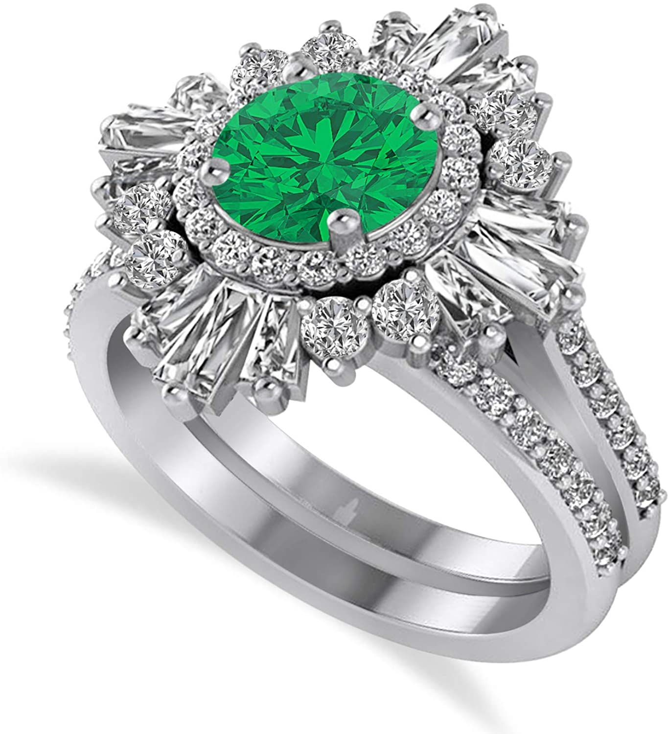 (2.74 ctw) Platinum Emerald and Diamond Ballerina Engagement Ring